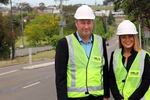 Mayor Yvonne Keane and The Hills Shire Group Manager of Strategic Planning, Michael Edgar inspecting Memorial Ave.jpg