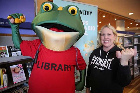 Mayor Byrne pictured with The Hills Shire Library mascot Fribbit.JPG