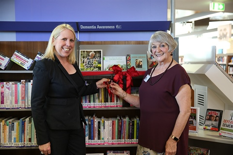 Mayor Byrne pictured with the President of The Friends of the Hills Library, Merle Overton, at the opening of the Dementia Awareness Collection.JPG