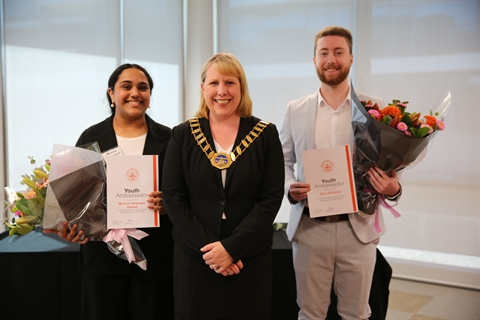 Mayor Byrne pictured with the new Hills Shire Youth Ambassadors Munira and Rory.JPG